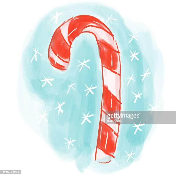 hand drawn and painted candy cane - kathrynsk stock illustrations