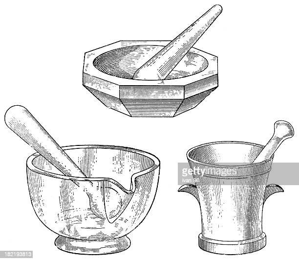 hand drawn black and white mortar and pestle sets - mortar and pestle stock illustrations, clip art, cartoons, & icons