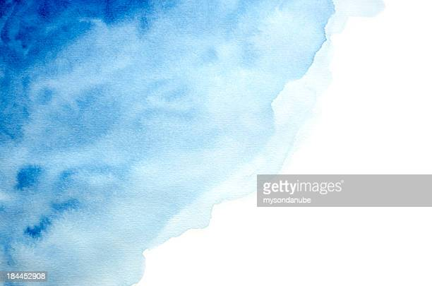 hand drawn blue watercolor background or frame - watercolor background stock illustrations