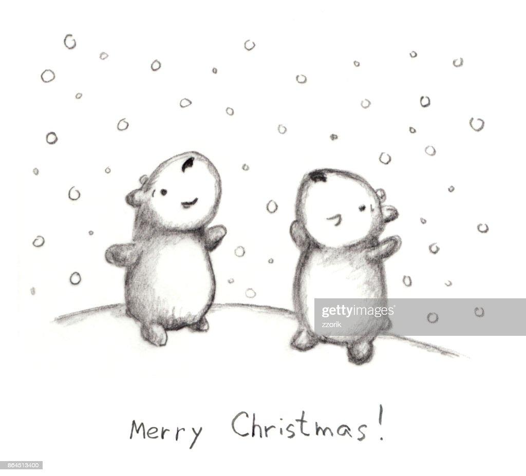 Croquis De Noël Dessiné Avec Des Ours Et De La Neige Crayon à La ...