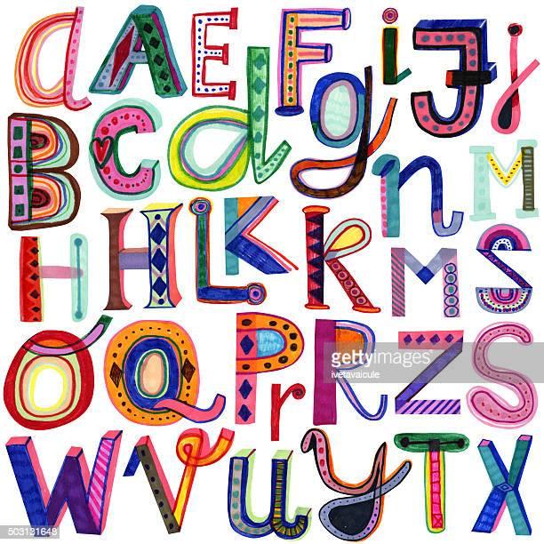 ilustraciones, imágenes clip art, dibujos animados e iconos de stock de alfabeto coloridos dibujados a mano - letrac