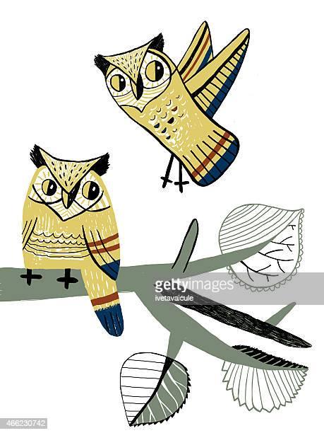 hand drawn couple bighorn owls sitting on aspen branch - aspen tree stock illustrations, clip art, cartoons, & icons