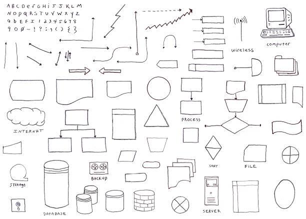 hand drawn flowchart diagram icons - pencil drawing stock illustrations