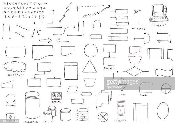 hand drawn flowchart diagram icons - the alphabet stock illustrations