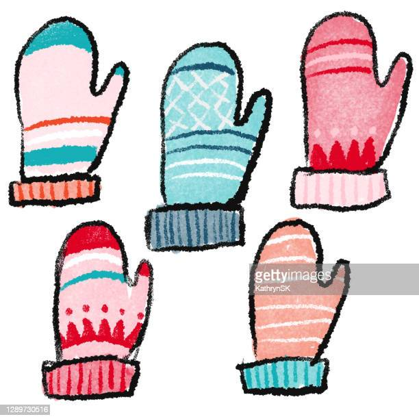hand drawn group of mittens - kathrynsk stock illustrations