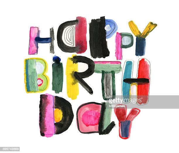 hand drawn happy birthday message - geburtstagskarte stock-grafiken, -clipart, -cartoons und -symbole