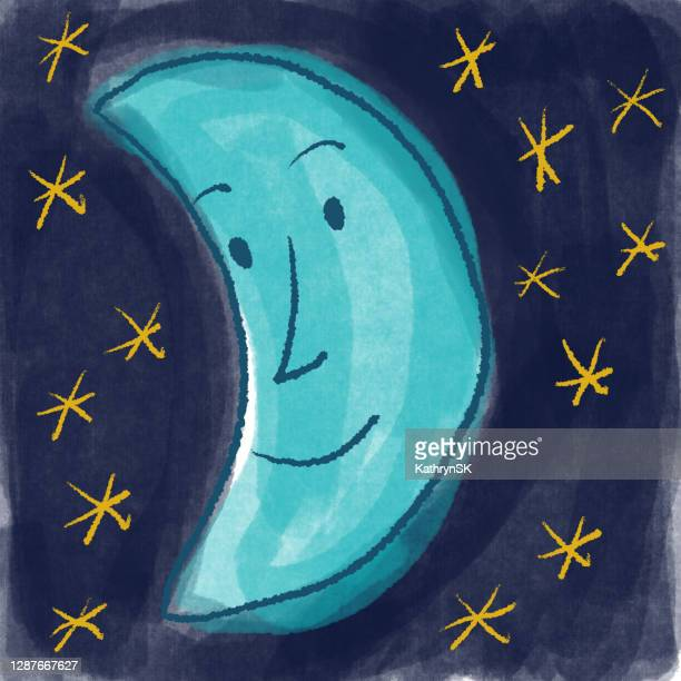 hand drawn happy blue moon - kathrynsk stock illustrations