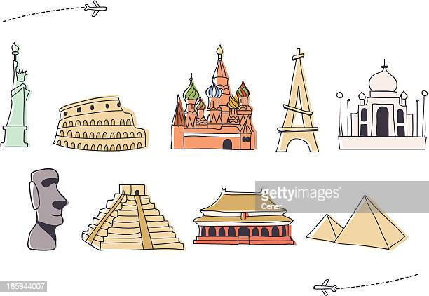 hand drawn international landmark icon set (1) - red square stock illustrations, clip art, cartoons, & icons