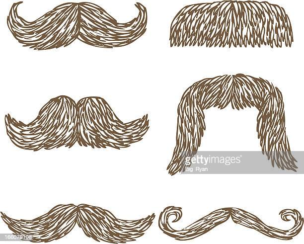 hand drawn mustaches - moustache stock illustrations