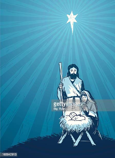 hand drawn nativity - jesus stock illustrations, clip art, cartoons, & icons