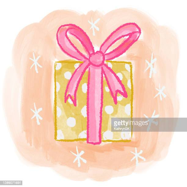 hand drawn pink yellow gift - kathrynsk stock illustrations