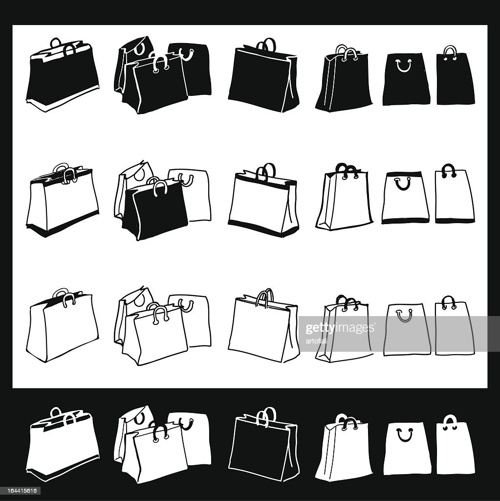 Hand Drawn Shopping bag Icons With Roll Over States
