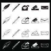 Hand Drawn Stationary Icons With Roll Over States