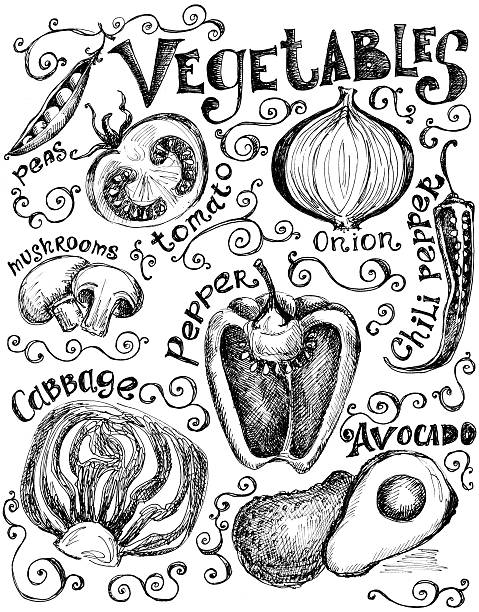 Hand Drawn Vegetable Graphics And Labels Wall Art