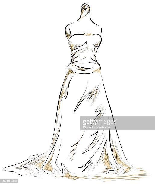 hand drawn Wedding Dress mannequin.