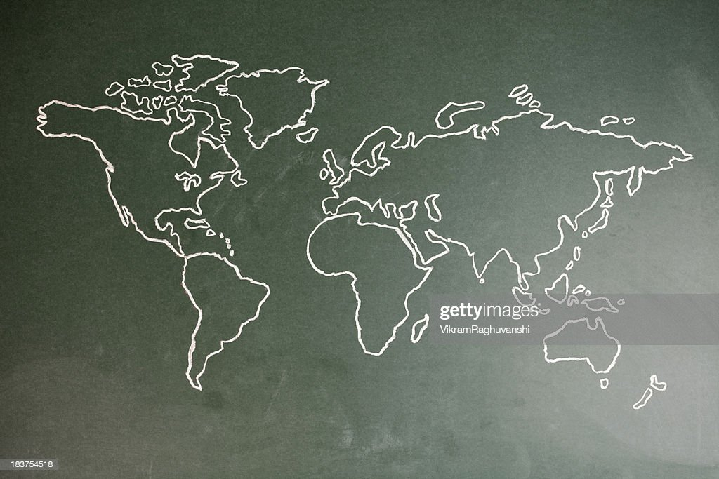 Hand Drawn World Map Chalk Drawing Sketch On Greenboard Horizontal ...