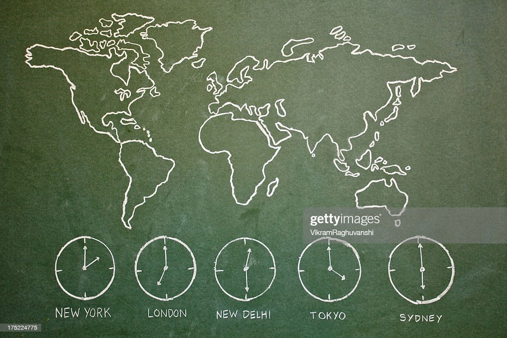 Hand Drawn World Map On Greenboard With Different Time Clocks Stock ...