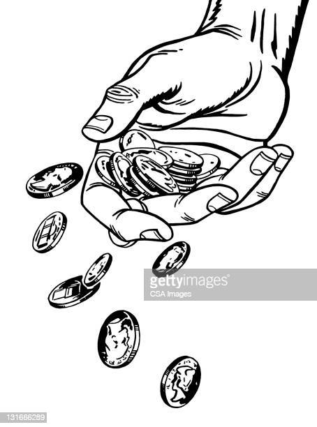 hand dropping coins - consumerism stock illustrations