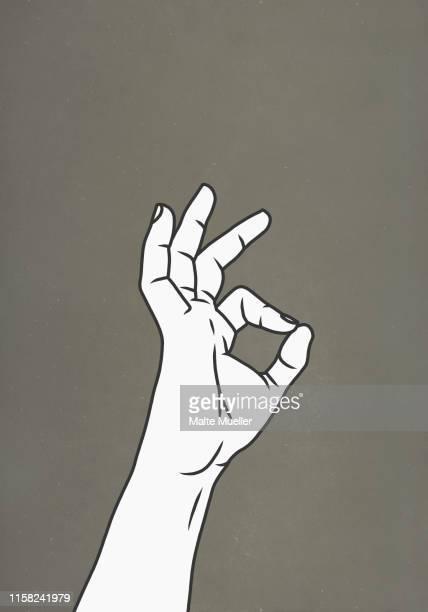 hand gesturing ok - ok sign stock illustrations