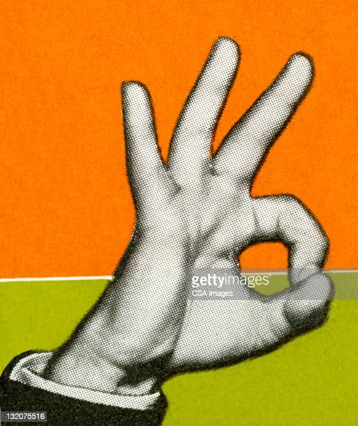 hand giving the ok symbol - ok sign stock illustrations, clip art, cartoons, & icons