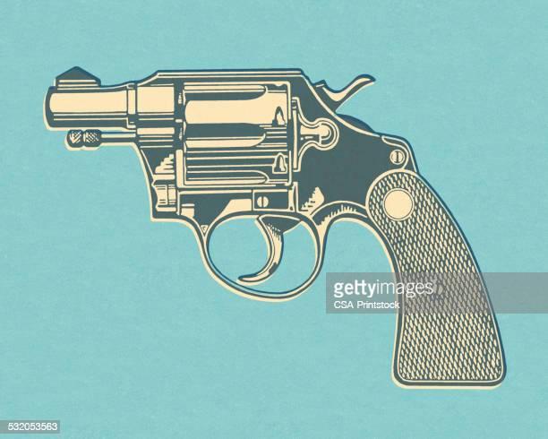 Hand Gun on Blue Background