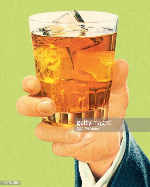 hand holding a cocktail - scotch whiskey stock illustrations, clip art, cartoons, & icons