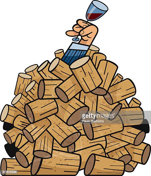 a hand holding a glass of wine from under a pile of corks - buried stock illustrations, clip art, cartoons, & icons