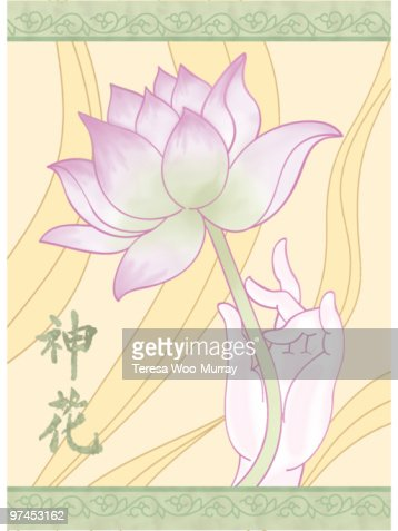 A Hand Holding A Lotus And The Chinese Characters For Spirit And