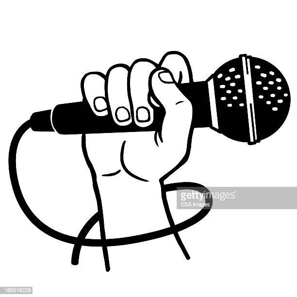 hand holding a microphone - microphone stock illustrations