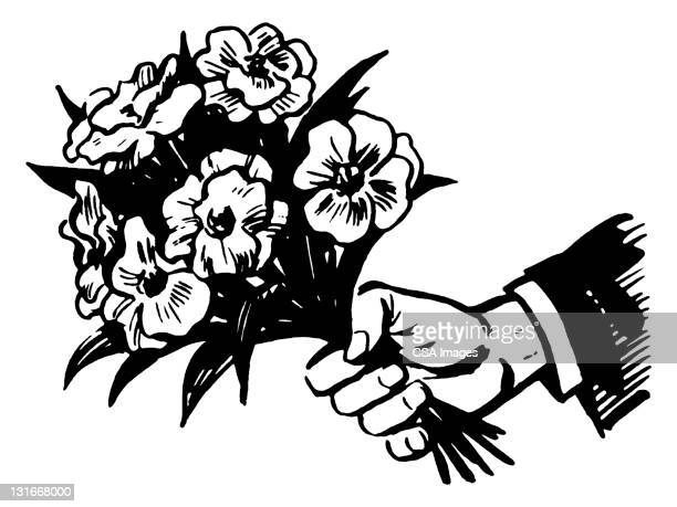 hand holding bouquet of flowers - giving stock illustrations