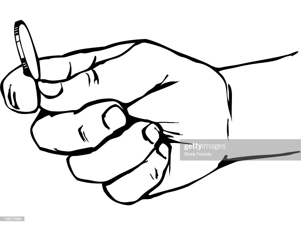 Line Drawing Holding Hands : Hand holding coin stock illustration getty images