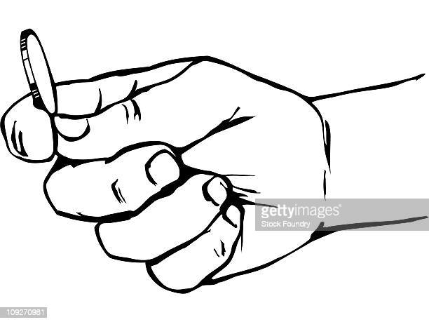 hand holding coin - flipping a coin stock illustrations, clip art, cartoons, & icons