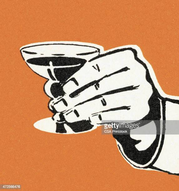 hand holding drink - happy hour stock illustrations, clip art, cartoons, & icons