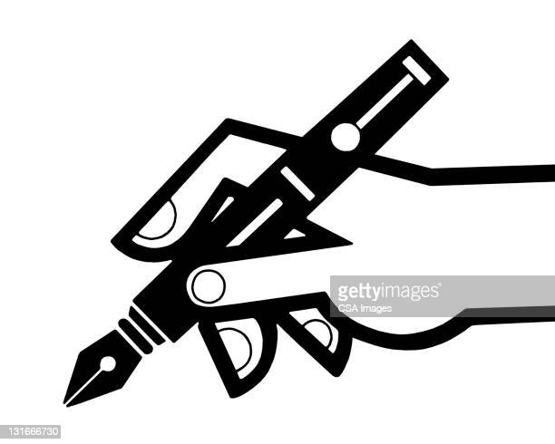 hand holding fountain pen - writing stock illustrations