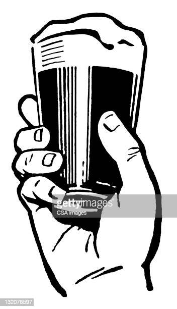 hand holding glass of beer - human hand stock illustrations