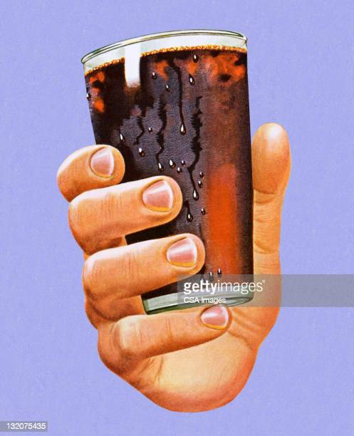 hand holding glass of cola - happy hour stock illustrations, clip art, cartoons, & icons