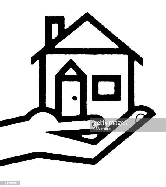 hand holding house - facade stock illustrations