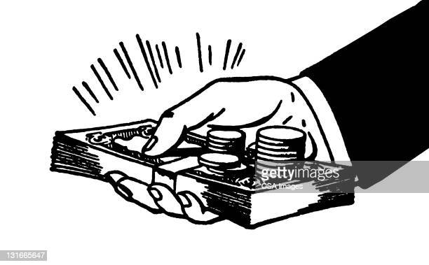 hand holding money - consumerism stock illustrations