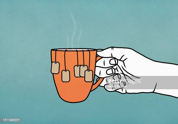 hand holding mug with many tea bags - food and drink stock illustrations