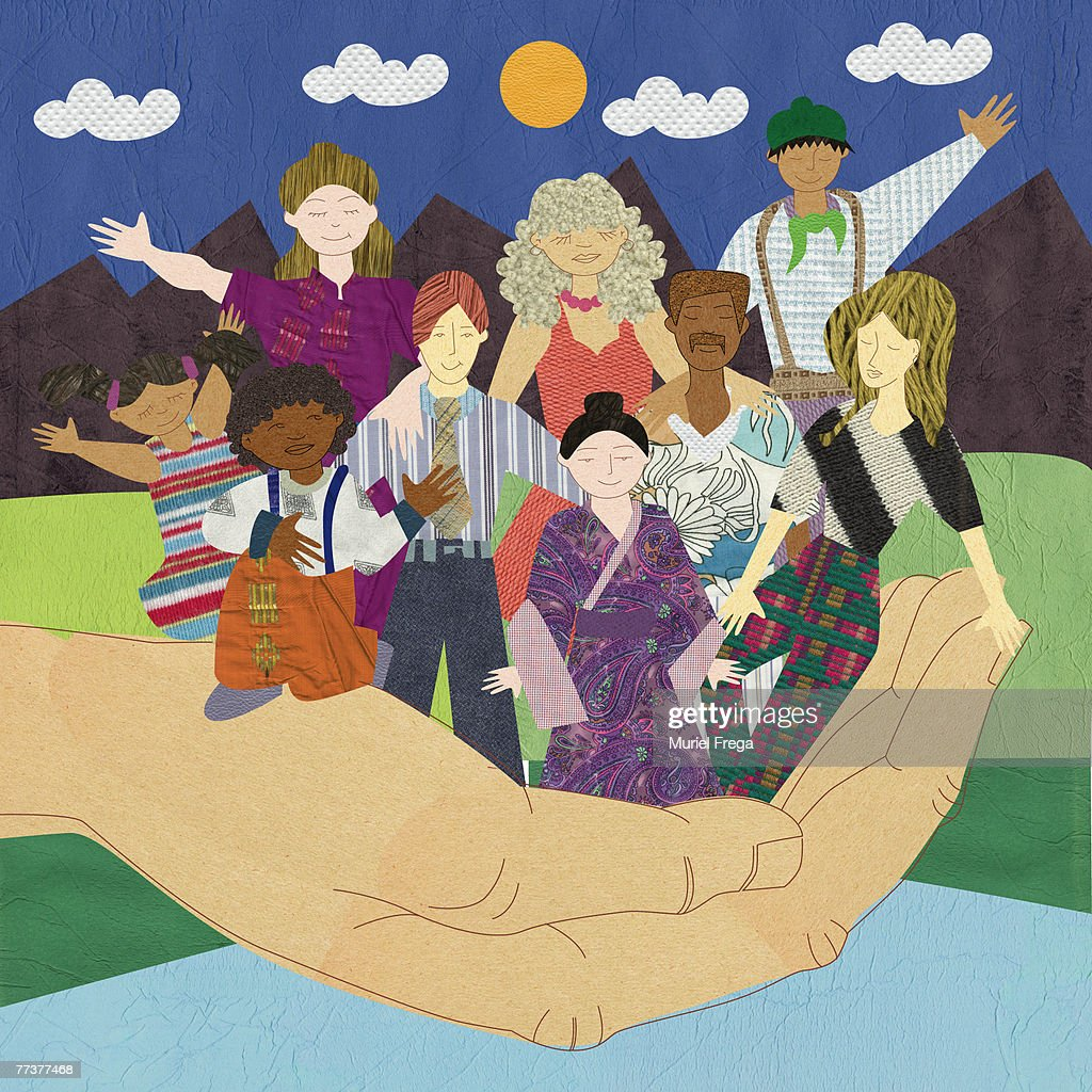 A hand holding multicultural people : Illustration