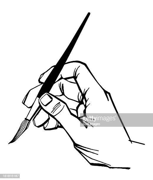 illustrazioni stock, clip art, cartoni animati e icone di tendenza di hand holding paintbrush - pittore