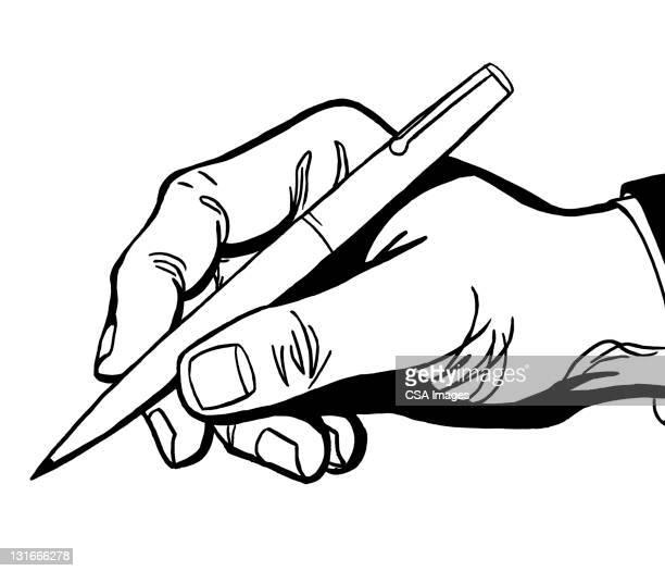 hand holding pen - writing stock illustrations