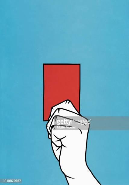 ilustraciones, imágenes clip art, dibujos animados e iconos de stock de hand holding red card - penalty