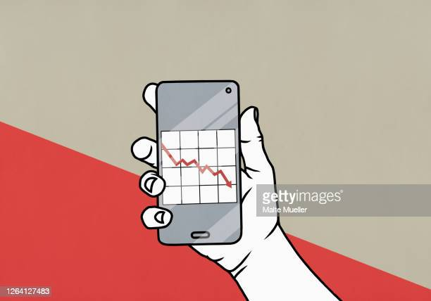pov hand holding smart phone with downward graph on screen - close up stock illustrations