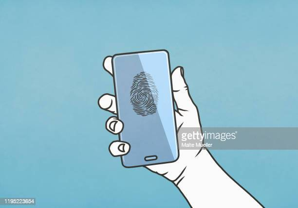 hand holding smart phone with fingerprint - touching stock illustrations