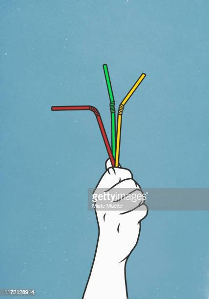 hand holding three straws - plastic stock illustrations