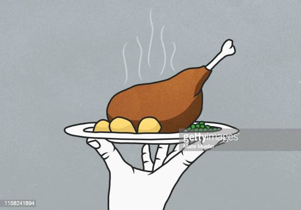 hand holding tray with steaming chicken leg, potatoes and peas - food and drink stock illustrations
