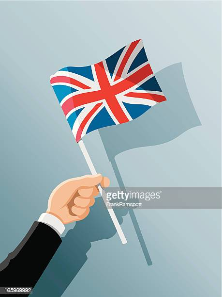 hand holding united kingdom flag - forearm stock illustrations, clip art, cartoons, & icons