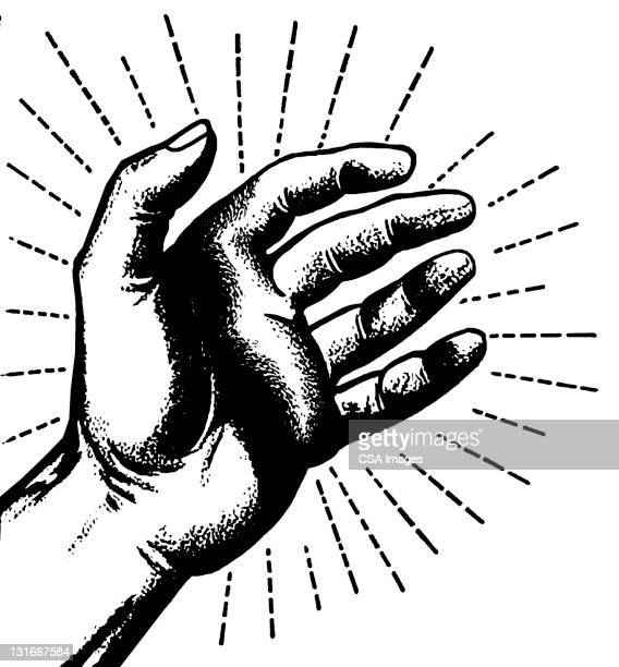 hand - black and white stock illustrations