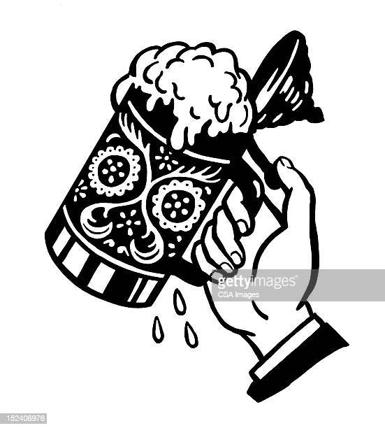 hand lifting stein - german culture stock illustrations